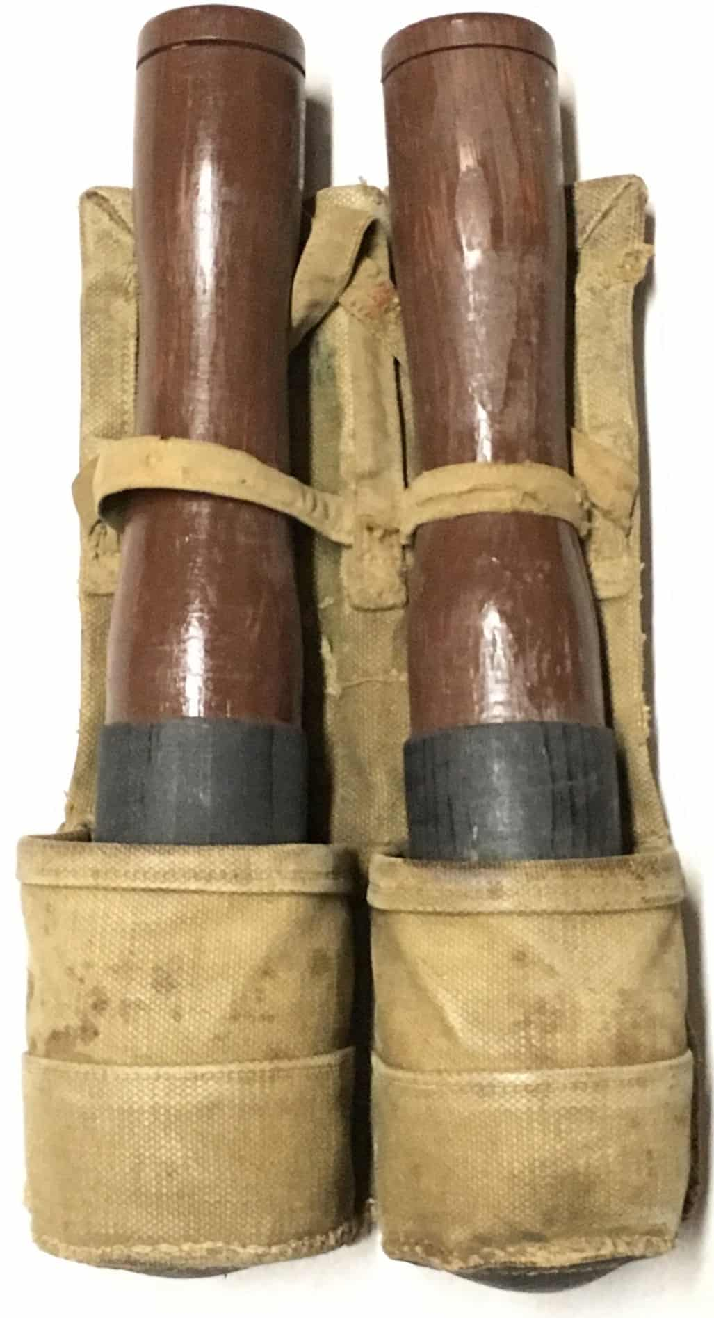 North Vietnamese Army Two Cell Long Stick Grenade Pouch with Grenades