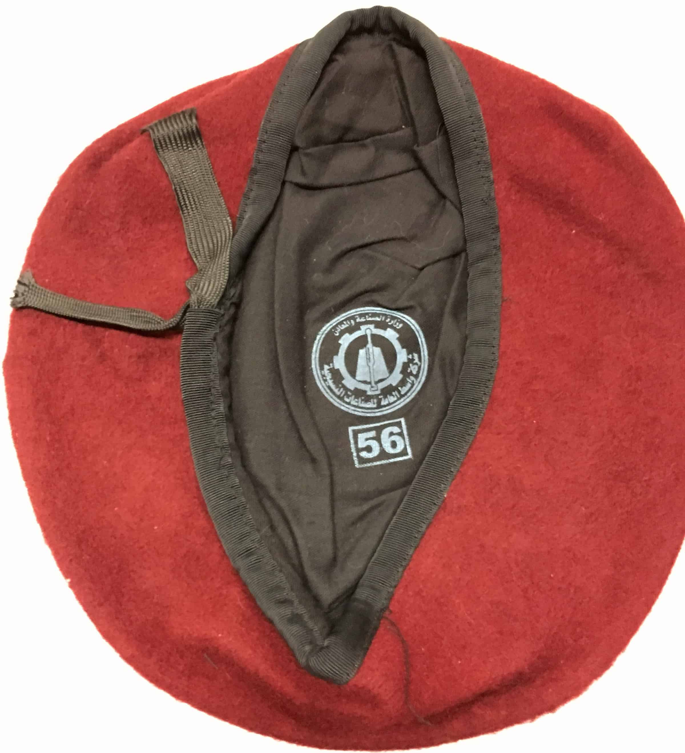 d021f65d7816d Iraqi Paratrooper Maroon Beret with Great Markings Size 56 - Enemy Militaria