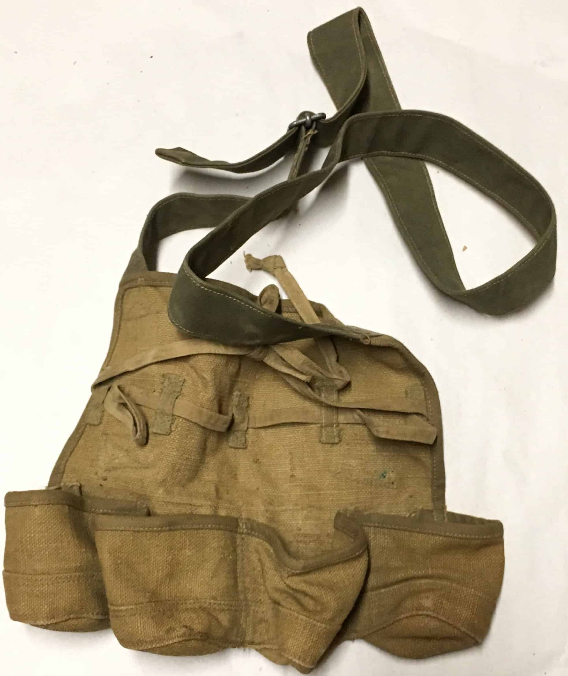 North Vietnamese Army Four Cell Long Stick Grenade Pouch with Tie Tie